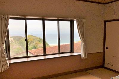 入田浜山荘 B6名用和室からの景色