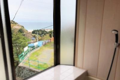 入田浜山荘 A6名用 浴室から海の眺め