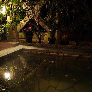 修善寺フォーレスト2名用の露天風呂夜の様子